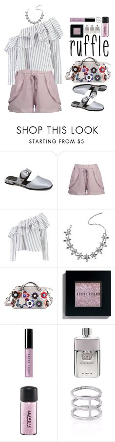 """""""Add Some Flair: Ruffled Tops"""" by beebeely-look ❤ liked on Polyvore featuring Boohoo, Fendi, Bobbi Brown Cosmetics, Gucci, MAC Cosmetics, Edge of Ember, casual, preppy, ruffles and twinkledeals"""