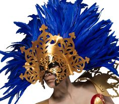 Gold and Cobalt Blue Masquerade Goddess Mask • Story: This mask was inspired by ancient warrior goddesses and is intended to strike awe while conveying a powerful presence. Its layers were carefully h