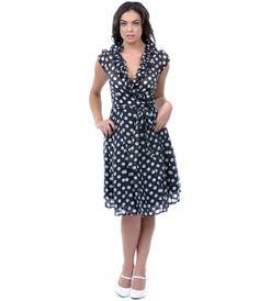 Black & White Polka Dot Ruffle Wrap Dress - Unique Vintage - Prom dresses, retro dresses, retro swimsuits.