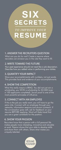Six amazing secrets to improve your resume. CLICK IMAGE FOR MORE Six amazing secrets to improve your resume. Six amazing secrets to improve your resume. The post Six amazing secrets to improve your resume. appeared first on Cafe Home. Create A Resume, Resume Help, Job Resume, Resume Tips, Cv Tips, Resume Examples, Resume Ideas, Resume Fonts, Sample Resume