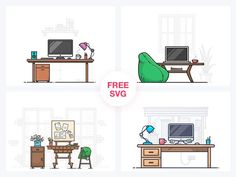 Workspace Illustrations Free Download. #vector #workspace #illustration #freebies