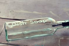 Creating a beautiful etched dish soap container - DIY