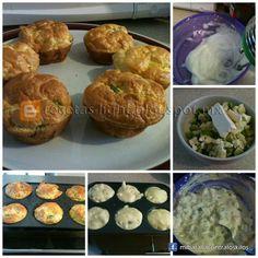 Muffin de verduras, sin harina 2 huevos 90 gr Queso crema Coliflor Cebolla Pimiento verde Batir las claras a punto de nieve. Agregar queso crema y seguir batiendo,  Con el queso ya unificado, agregar las yemas y batir. Agregar las verduras y con una cuchara remover hasta que las verduras estén cubiertas con el huevo. En molde de cupcakes, salieron 6, lo engrase con aceite en spray. Hornearlos a 325°F, estuvieron en el horno 20 minutos, a mi me gusta que estén doraditos por fuera.