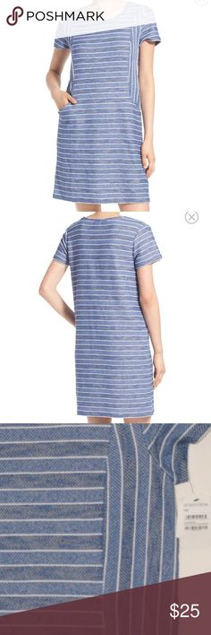 NWTCaslon Stripe Terry Shift Dress T-shirt styling defines the laid-back ease of a cute and summery terry-cloth dress patterned in textured stripes and equipped with handy pockets. Slips on over head. Crewneck. Short sleeves. Front slip pockets. Unlined. 51% cotton, 49% polyester. Machine wash cold, dry flat. By Caslon; imported. Caslon Dresses