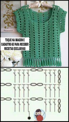 Crochet Vase, Crochet Crafts, Crochet Projects, Crochet Blouse, Crochet Top, Pakistani Kids Dresses, Crochet Stitches, Crochet Patterns, Loom Knitting