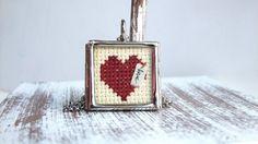 Heart Cross Stitch Necklace by Thimbleful on Etsy, $25.00