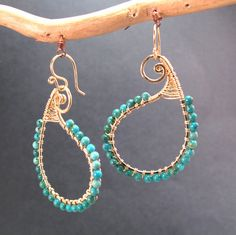 Hammered paisley earrings with your choice of stone Luxe Bijoux 33 by CalicoJunoJewelry on Etsy