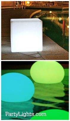 LED Light Cubes & Balls ... amazing additions to the patio and/or pool area. Color-changing, rechargeable and waterproof! http://www.partylights.com/LED-Light-Cubes-Balls