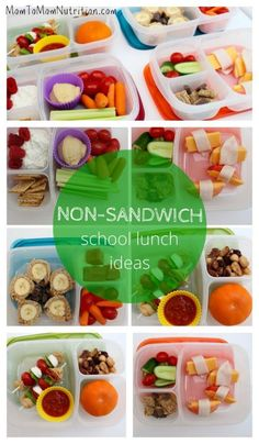 While sandwiches are the easiest lunch option, if your child won't eat them, YOU need options. Here are 4 healthy non-sandwich school lunch ideas! @Mom to Mom Nutrition- Katie Serbinski, MS, RD