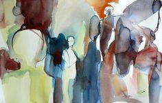 "Saatchi Art Artist Sylvia Baldeva; Painting, ""People - watercolor"" #art"