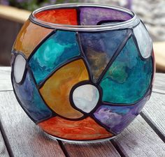 Art: Colorful Votive Candle Holder (ROUND GLOBE) by Artist Diane G. Casey