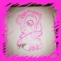 Prety Hair Neon Pink on White Tshirt
