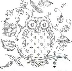 Free owl embroidery pattern -  I don't embroider, but I like this picture, will figure out something to do with it. :-)