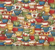 Stacked Coffee Cups Cotton Quilt Fabric, Coffee Escapes Collection by Bonnie Krebs for Henry Glass Fabrics, Fat Quarter, Yardage, HEG8840-44 by fabric406 on Etsy