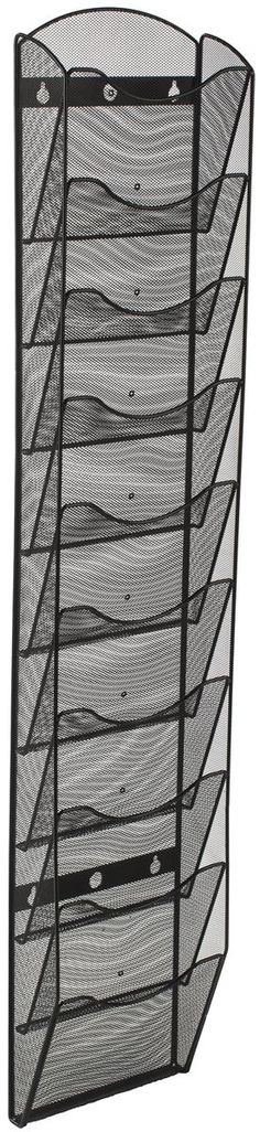 10 Tier Literature Rack for Wall Mount, Fits 8.5x11 & 4x9, Mesh - Black