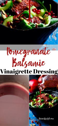 This Pomegranate Balsamic Vinaigrette Dressing makes an amazing marinade for steaks and chicken. Of course use it to top your favorite salad and more. Balsamic Vinegarette, Balsamic Vinaigrette Recipe, Pomegranate Sauce, Pomegranate Recipes, Vinegrette Salad Dressing, Vinegar Salad Dressing, Salad With Balsamic Dressing, Salad Dressing Recipes