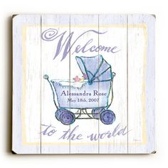 Personalized Welcome Baby Wood Sign