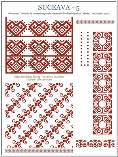Semne Cusute: ie din BUCOVINA Folk Embroidery, Cross Stitch Embroidery, Embroidery Patterns, Cross Stitch Borders, Cross Stitching, Beading Patterns, Cross Stitch Patterns, Costume Patterns, Textile Patterns