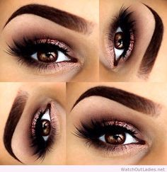 Beautiful smokey eye look using a shimmery rose gold colour. I love it!!