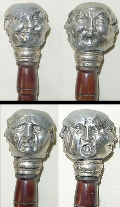 Victorian, Four Faces of Hubris. Sterling 925 Collar Antique Walking Stick