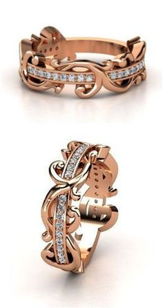 14K Rose Gold Ring with Diamond   Atlantis Band