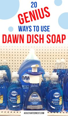 20 Frugal Ways to Use Dawn Dish Soap- Dawn soap can be used for so much more than just washing dishes! Find out all the clever and frugal ways you can use Dawn to save money! Household Cleaning Tips, Deep Cleaning Tips, Cleaning Recipes, Diy Cleaning Products, Cleaning Hacks, Household Cleaners, Cleaning Supplies, Cleaners Homemade, Diy Cleaners