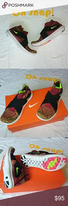 Woman's Nike Free RN Motion FK '17 Nike Woman's Black/Volt T-Racer Sneaker in Pink/ White Size 7. Brand New! Never Worn! Comes with original box. Great running sneaker with great reviews by runners and experts. Color of this knit is gorgeous. Thanks for stopping by to check out my closet. Please feel free to ask any questions. Nike Shoes Athletic Shoes