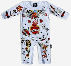 For the little Rocker!! New Six Bunnies Red Romper Boy Girl Tattoo Sparrow Rockabilly Punk Baby Clothes
