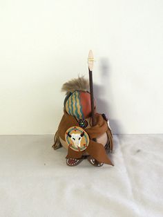 Faceless Gourd doll Native American warrior primitive Ooak collectible