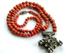 Old coral Moroccan necklace with Southern Cross talisman