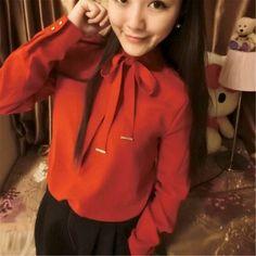 Spring Korean Long-Sleeved Chiffon Shirt Slim Ladies Temperament Ribbon Bow Chiffon ShirtRed (YH15042412-1)http://www.clothing-dropship.com/spring-korean-long-sleeved-chiffon-shirt-slim-ladies-temperament-ribbon-bow-chiffon-shirt-red-g2334436.html