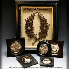 HUGE Antique Frame, Shadow Box French Hair Art Memento shown with collection of hair art memento items, c. 1770-1840, all French.  Photo credit: Antiques & Uncommon Treasure