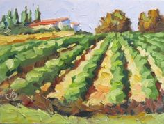 VINEYARD, WINE COUNTRY, TOM BROWN CALIFORNIA IMPRESSIONIST ART