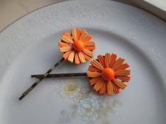 Repurposed / Upcycled Vintage Orange Daisy Flower Bobby Pins / Antique Bronze Hair Pins / Hair Accessory / OOAK Art / Spring Summer Fun on Etsy, $16.00