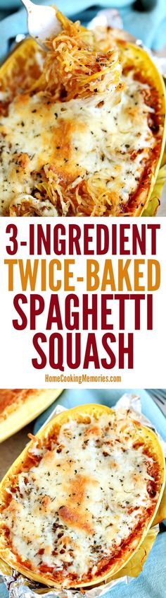 This Twice-Baked Spaghetti Squash recipe is an easy dinner idea that only needs spaghetti squash, mozzarella cheese, and your favorite pasta sauce. dinner spaghetti squash Easy Twice-Baked Spaghetti Squash Veggie Recipes, Low Carb Recipes, Vegetarian Recipes, Cooking Recipes, Healthy Recipes, Vegetarian Spaghetti Squash Recipes, Spaghetti Recipes, Paleo Pasta, Cabbage Recipes