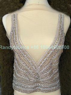 1 pieza nueva moda hecha a mano pedrería triming Vestido de novia encaje accesorios 40X53cm