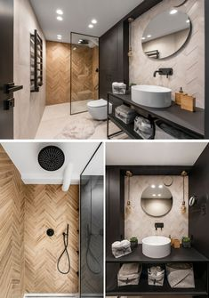This modern bathroom features tiles installed in both herringbone and chevron patterns. Bathroom A Lithuanian Loft Interior With A Monochrome And Wood Material Palette Bathroom Renos, Bathroom Layout, Modern Bathroom Design, Bathroom Interior Design, Bathroom Renovations, Bathroom Makeovers, Bathroom Ideas, Bling Bathroom, Bathroom Mirrors