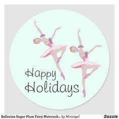 Ballerina Sugar Plum Fairy Nutcracker Christmas Classic Round Sticker Holiday Cards, Christmas Cards, Sugar Plum Fairy, Nutcracker Christmas, Round Stickers, Christmas Card Holders, Custom Stickers, Ballerina, Activities For Kids