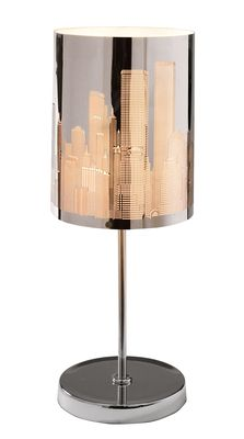 A stunning cityscape design is cut out of the stainless steel shade of this elegant table lamp. Light floods out of the city buildings, beautifully illuminating the surrounding area whenever you switch the lamp on.