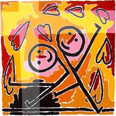 naive paintings art by raphael perez couple kissing paint like a child