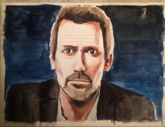 Hugh Laurie watercolors 12x9
