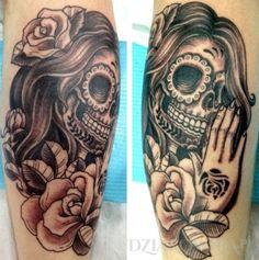 Tatuaż Meksykańska damska czaszka - czaszki, na przedramieniu, dla kobiet