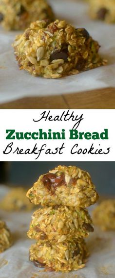 Healthy Zucchini Bread Breakfast Cookies are a quick and easy grab'n go breakfast that your whole fam will enjoy! Sweet, filling , gluten-free + vegan-friendly!