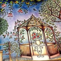 Bom dia!!! Que nosso dia seja inspirador como a pintura da @sheylabrazs ・・・ #terapianojardim #johannabasford #secretgarden #sextante #