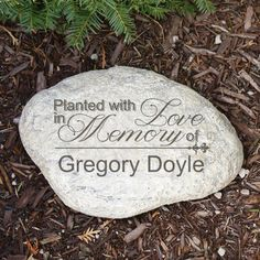 Planted With Love Memorial Decorative Garden Stones. The loss of a loved one is devastating, and the knowledge that you have something small to pay homage to them can be a great source of comfort. Our engraved garden stone will allow you to dedicate part of your yard or garden to a recently lost loved one. It will keep their memory alive for years to come. Your Engraved Memorial Garden Stone is made of durable resin and has a real stone look. Lightweight waterproof,