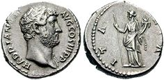 Silver coin of Emperor Hadrian. He reigned in 117-138 AD.