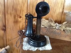 Antique Candlestick Telephone 1907 Kellogg Phone by stonecottagemill on Etsy https://www.etsy.com/listing/216239933/antique-candlestick-telephone-1907