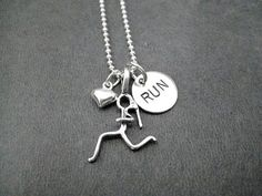 GIRLS LOVE to RUN Sterling Silver Necklace 16 18 or by TheRunHome