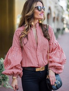 """Universe of goods - Buy """"Vintage deep v-neck plaid blouse women Long puff sleeve summer blouse shirt 2018 Streetwear casual stripe black blusas tops sexy"""" for only USD. Casual Outfits, Fashion Outfits, Womens Fashion, Casual Clothes, Ladies Fashion, Fashion Hacks, Stylish Clothes, Fashion Stores, Stylish Outfits"""