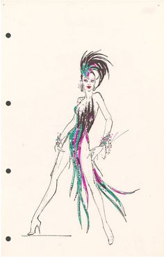 Jubilee sketch by Bob Mackie……one of my favorite dances and costume! Jubilee sketch by Bob Mackie……one of my favorite dances and costume! Costume Cabaret, Showgirl Costume, Vegas Showgirl, Bob Mackie, Burlesque, Costume Design Sketch, Dress Design Drawing, Beautiful Costumes, Fashion Sketches